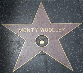 Woolley's star on the Hollywood Walk of Fame, showing the television emblem, though his official category is