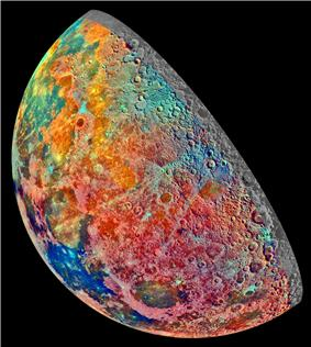 This image shows compositional variations of the Moon overlaid as pseudocolor. Bright pinkish areas are highlands materials, blue to orange shades indicate volcanic lava flows. Recent impacted soils are represented by light blue colors; the youngest craters have prominent blue rays extending from them.