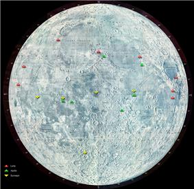 Locations of Luna landings on the Moon are marked in red; Apollo missions in green, and Surveyor in yellow.