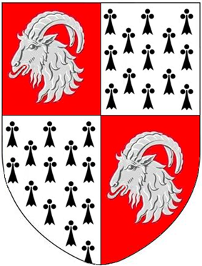 Arms of Morton: Quarterly 1st & 4th: Gules, a goat's head erased armed argent; 2nd & 3rd: Ermine