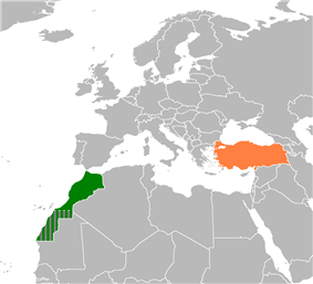 Map indicating locations of Morocco and Turkey