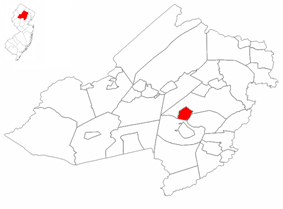 Morris Plains highlighted in Morris County. Inset map: Morris County highlighted in the State of New Jersey.