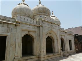 Large, white mausoleum