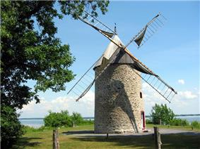 The windmill with Lake Saint-Louis in the background