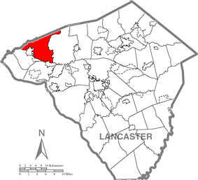 Map of Lancaster County highlighting Mount Joy Township