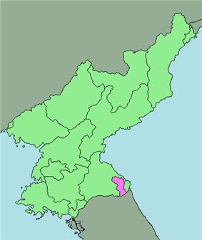 Map of North Korea highlighting the region.