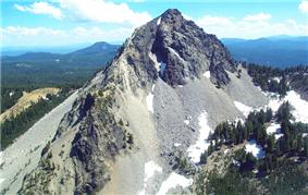 An aerial view of Mount Thielson.