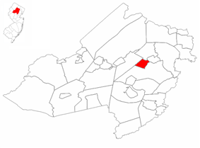 Mountain Lakes highlighted in Morris County. Inset map: Morris County highlighted in the State of New Jersey.