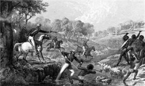 Mounted police engaging Indigenous Australians during the Slaughterhouse Creek Massacre of 1838
