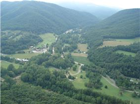 Community of Seneca Rocks, West Virginia at the confluence of Seneca Creek and the North Fork South Branch Potomac River. The
