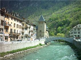 View of Moûtiers and the Isère River