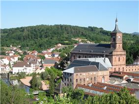 View of the town center and Moyenmoutier Abbey