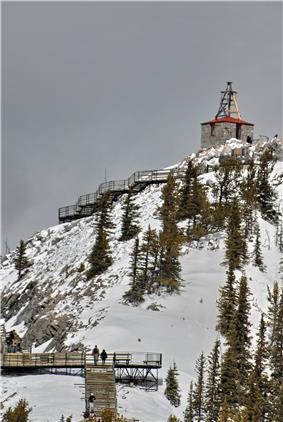 View of the existing weather observatory at the former site of the Sulphur Mountain Cosmic Ray Station