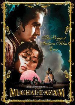 Theatrical poster showing Prince Salim hugging Anarkali