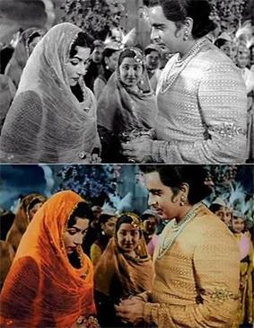 black-and-white film scene above a colourised version of the same scene