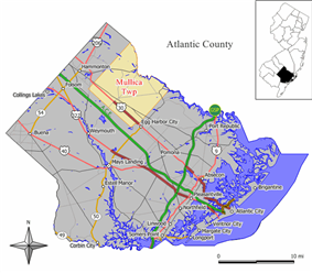 Map of Mullica Township in Atlantic County. Inset: Location of Atlantic County highlighted in the State of New Jersey.
