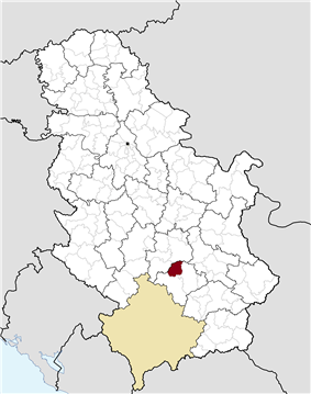 Location of the municipality of Blace within Serbia