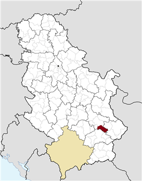 Location of the municipality of Gadžin Han within Serbia