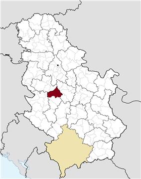 Location of the municipality of Gornji Milanovac within Serbia