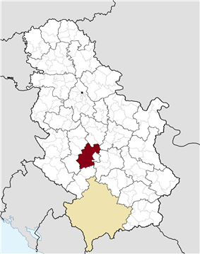 Location of the municipality of Kraljevo within Serbia