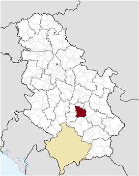 Location of the municipality of Kruševac within Serbia