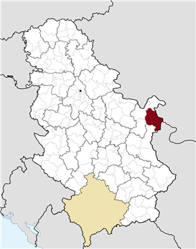 Location of the municipality of Negotin within Serbia