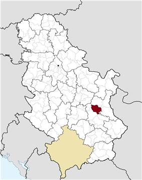 Location of the municipality of Sokobanja within Serbia