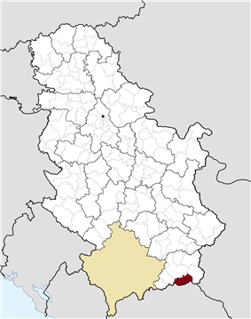 Location of the municipality of Trgovište within Serbia