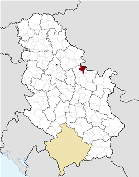 Location of the municipality of Veliko Gradište within Serbia