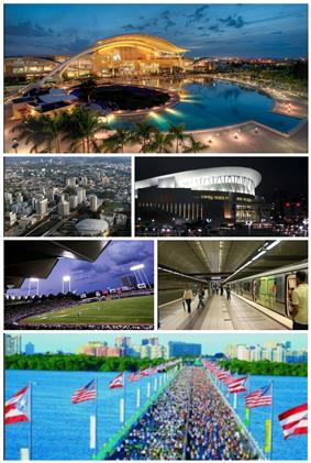 From top left: Puerto Rico Convention Center, Milla de Oro, José Miguel Agrelot Coliseum, Hiram Bithorn Stadium, Tren Urbano, Teodoro Moscoso Bridge