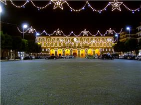 Palazzo Cesarini-Sforza, the Townhall of Civitanova Marche, decorated for the Christmas feasts