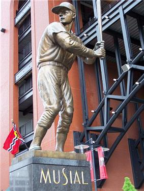 A bronze statue of baseball great Stan Musial