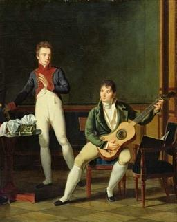 An oil painting depicting two men, dressed in 19th century attire, gathered around a table. The man on the right is playing the guitar.