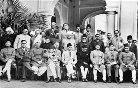 The leaders of the Muslim League, 1940.  Jinnah is seated at center.