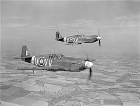 Mustang I aircraft of No.2 Squadron RAF in flight