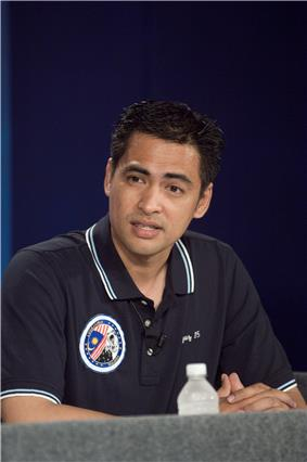 Malaysian astronaut Sheikh Muszaphar Shukor responding to a query form the media in a pre-flight press conference.