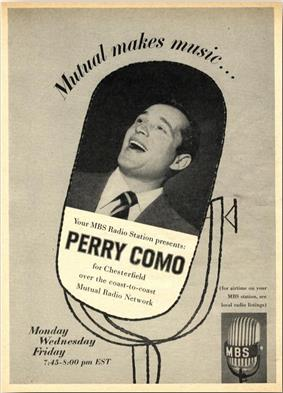 Photograph of Perry Como singing, superimposed on an illustration of a microphone and accompanied by advertising copy, including the slogan