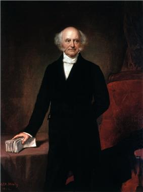 A three-quarters length painted portrait of a balding man with gray hair, standing with his right hand grasping a bundle of papers lying on a table