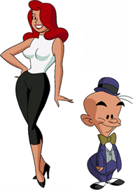 Gsptlsnz (left) and Mxyzptlk (right), as seen in Superman: The Animated Series.