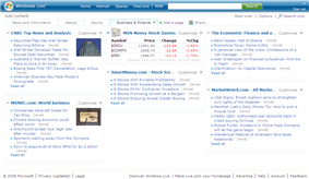 A screenshot of Live.com customizable homepage