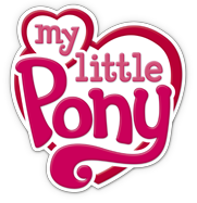 My Little Pony logo: red letters on large and small white hearts, outlined in red