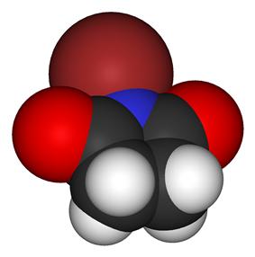 Space-filling model of the N-bromosuccinimide molecule