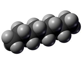 Space-filling model of octane