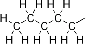 Skeletal formula of pentyl with all explicit hydrogens added