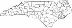 Location of Burlington within North Carolina