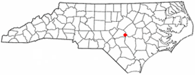 Location of Dunn, North Carolina