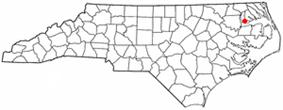 Location of Edenton, North Carolina