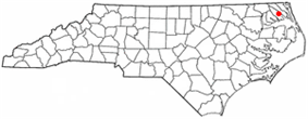 Location in Pasquotank counties in the state of North Carolina