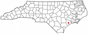 Location of Jacksonville within North Carolina
