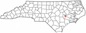 Location of Kinston within North Carolina.